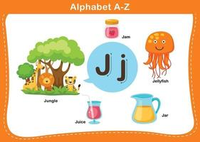 ilustração em vetor letra j do alfabeto