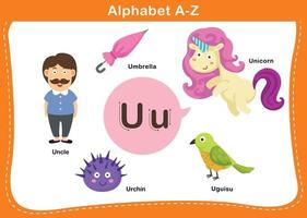 ilustração em vetor letra u do alfabeto