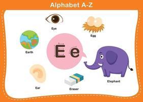 ilustração em vetor letra e alfabeto