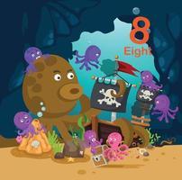 número de educação para crianças com ilustração vetorial subaquática de 8 polvos vetor