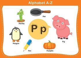 ilustração em vetor letra p do alfabeto
