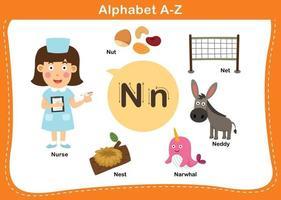 ilustração em vetor letra n do alfabeto