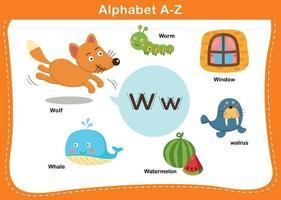ilustração em vetor w letra do alfabeto