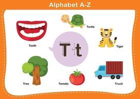 ilustração em vetor letra t do alfabeto