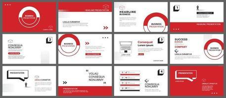 apresentação e plano de fundo do layout de slides. projeto modelo geométrico vermelho e preto. use para apresentação de negócios, slide, marketing, folheto, publicidade, modelo, estilo moderno. vetor