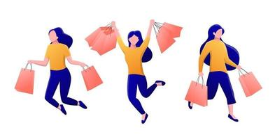 ilustração de mulheres felizes pulando e segurando sacolas de compras vetor
