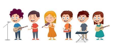 crianças tocando vários instrumentos musicais ilustração vetor