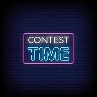 vetor de texto de estilo de sinais de néon de tempo do concurso
