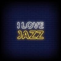 Eu amo o vetor de texto de estilo de sinais de néon de jazz