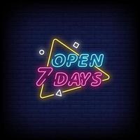 abrir 7 dias vetor de texto de estilo de sinais de néon