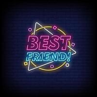 melhor amigo, sinais de néon, estilo, vetor de texto