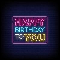 feliz aniversário para você sinais de néon estilo texto vetor