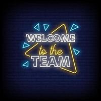 bem-vindo ao vetor de texto de estilo de sinais de néon da equipe