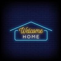 bem-vindo em casa vetor de texto de estilo de sinais de neon