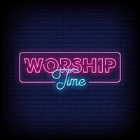 tempo de adoração sinais de néon, vetor de texto