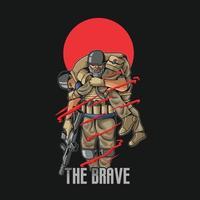 ilustração de solidariedade soldado de honra vetor