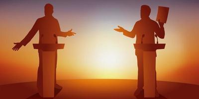 debate entre dois políticos atrás de mesas vetor