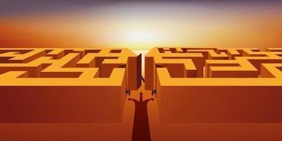 um homem de sorte encontra o caminho para sair de um labirinto vetor