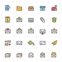 e-mail e carta linha com ícones coloridos. ilustração vetorial no fundo branco. vetor
