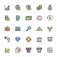 dinheiro e finanças linha com ícones coloridos. ilustração vetorial no fundo branco. vetor