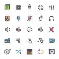 linha de voz e áudio com ícones coloridos. ilustração vetorial no fundo branco. vetor