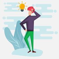 empresário pensando ilustração de ideia de negócio em estilo simples vetor