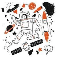 elementos de histórias sobre o espaço ou astronauta vetor