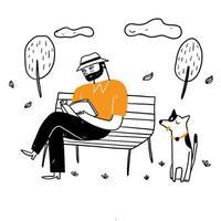 o velho sentado na cadeira do parque vetor