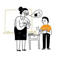 professor elogia aluno com aplausos por fazer o bem vetor