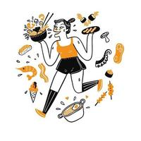 Mulher bonita correndo e segurando comida vetor