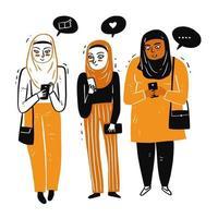 mulheres muçulmanas reunidas vetor