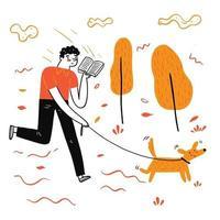 o homem passeando com um cachorro lendo um livro favorito vetor