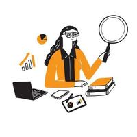 ilustração de uma empresária pesquisadora vetor
