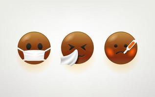 rostos de emoji de pele escura vetor