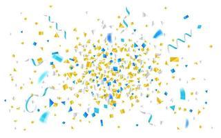 explosão de confetes e fitas de folha azul e amarela vetor