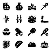 comida americana e cerâmica decorativa vetor