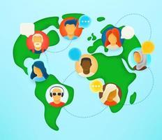 trabalho em equipe internacional via conexão com a internet. diálogo online com a equipe vetor