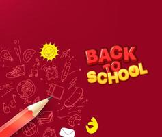 de volta ao conceito de escola. lápis com elementos de rabisco vetor
