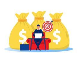empresário ganhando dinheiro com negócios online. conceito de negócio online de lucro. ilustração vetorial vetor