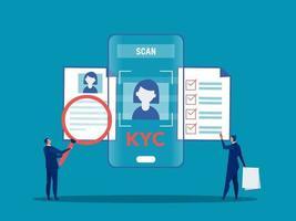 kyc ou conheça seu cliente com empresário verificando a identidade do conceito de seus clientes nos futuros parceiros por meio de uma lupa ilustradora vetorial