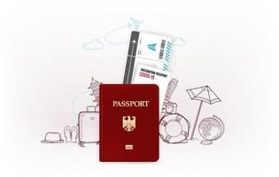 ilustração de viagens com espaço de cópia. conceito de passaporte de vacinação vetor