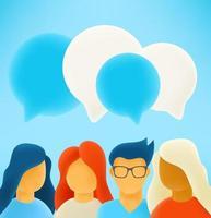 grupo de pessoas discutindo juntos vetor
