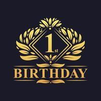 Logotipo do aniversário de 1 ano, celebração do primeiro aniversário de ouro de luxo. vetor