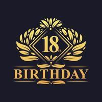 Logotipo de aniversário de 18 anos, celebração de ouro de 18 anos de luxo. vetor