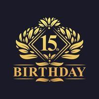 Logotipo de aniversário de 15 anos, celebração de ouro de 15 anos de luxo. vetor