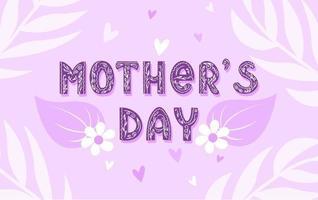 dia das Mães. inscrição de letras com delicadas flores e folhas. texto decorativo com um padrão floral. ilustração vetorial vetor