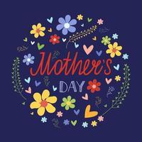 modelo de cartão de dia das mães. quadro floral com inscrição de letras. ilustração vetorial vetor