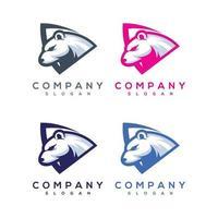 conjunto de logotipo abstrato de urso colorido vetor