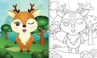 livro de colorir para crianças com uma ilustração de um veado fofo vetor
