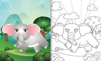 livro de colorir para crianças com uma ilustração de um elefante fofo vetor